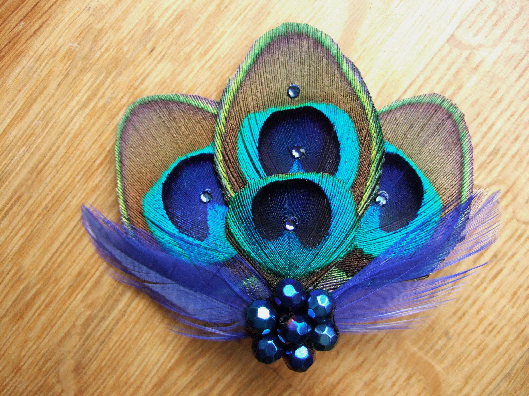 Bridal Royal Blue Green Peacock Feathers Fascinator Hair ...